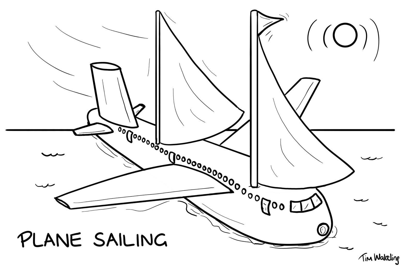 Cartoon of a plane, sailing