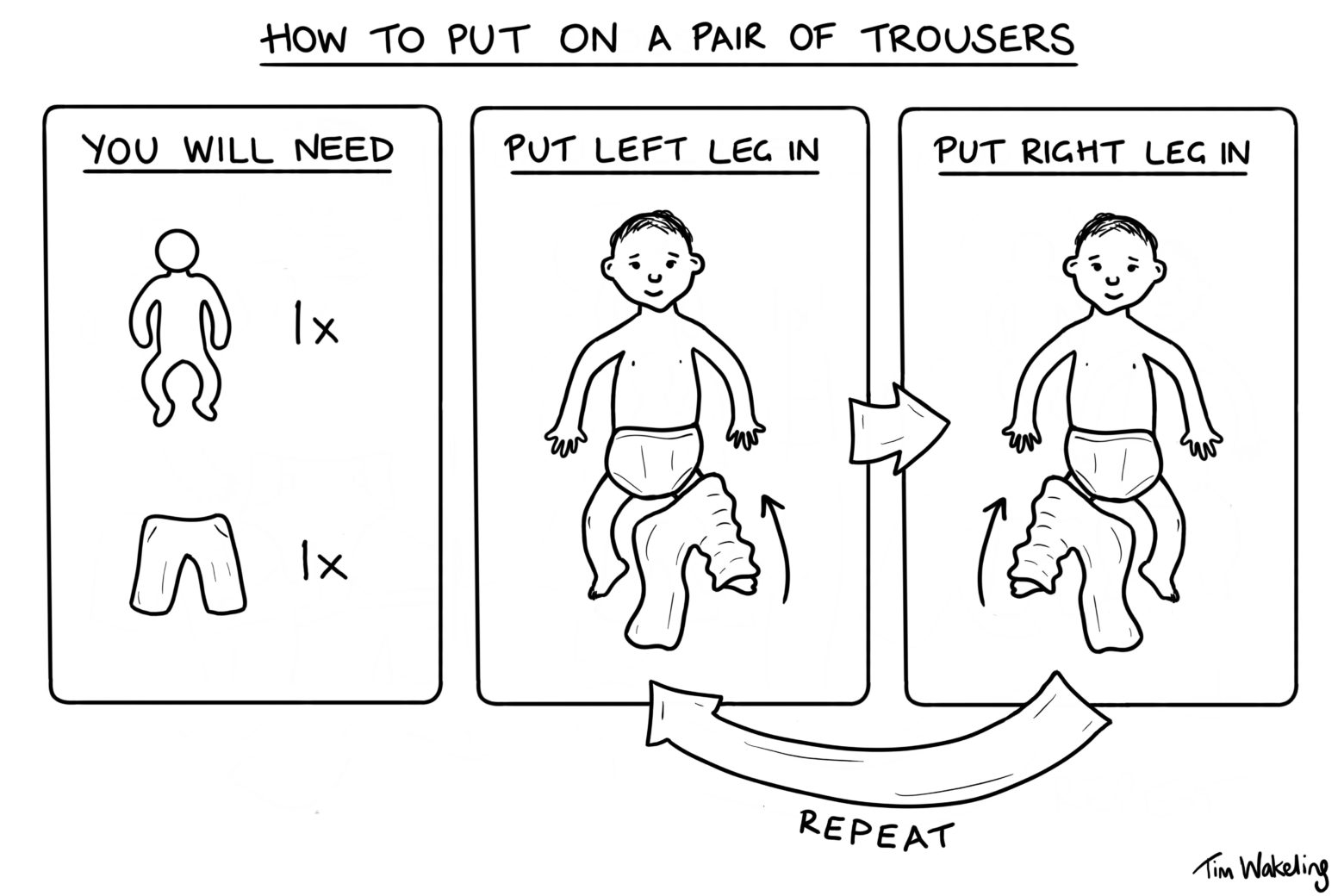 Baby cartoon about putting on a pair of trousers